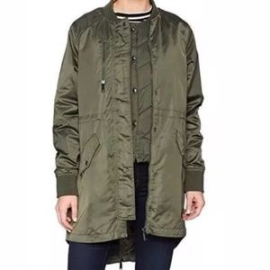 Sam Edelman Satin Bomber Jacket Vest 2-in-1 Olive